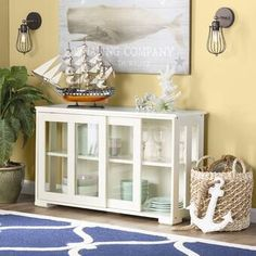 South Miami Server Buffet Sideboard Cabinet Storage Table With Shelves Off-White Door Crafts, Sliding Glass Door, Glass Doors, Sliding Doors, Dining Furniture, Furniture Decor, White Furniture, Table Linens, Adjustable Shelving