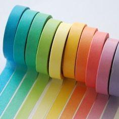 Coffret 10 rouleaux washi tape couleurs claires