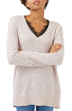 Free shipping and returns on Topshop Lace V-Neck Sweater Tunic at Nordstrom.com. A ribbed hem with slits at the sides lends movement to a slouchy, longline sweater fitted with a lace-trimmed V-neck.