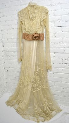 EXQUISITE Cream Antique Victorian Sheer Irish Lace Wedding Dress with Satin Slip Size Small. $450.00, via Etsy.