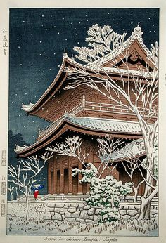 Asano Takeji, Snow at Chion-in, 1953