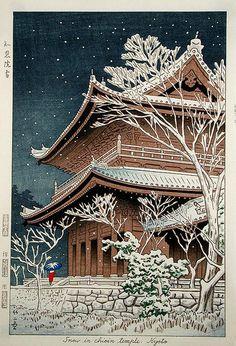 Asano Takeji, Snow at Chion-in, 1953