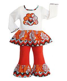 Inspiration! Loving this Orange Damask Turkey Tunic & Pants - Infant, Toddler & Girls on #zulily! #zulilyfinds