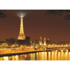 Fototapet Nuit d'Or cu o mare de lumina aurie ce imbratiseaza Turnul Eiffel si apele line ale fluviului Sena. Comanda online Fototapet Nuit d'Or pe traget.ro.