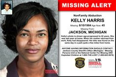 KELLY HARRIS, Age Now: 45, Missing: 08/10/1984. Missing From JACKSON, MI. ANYONE HAVING INFORMATION SHOULD CONTACT: Jackson County Sheriff's Office (Michigan) - Missing Persons Unit.