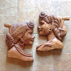 Carved Wood Women Wall Hanging Set of 2 by RetroResaleSanDiego ***ALSO SEE Vintage Jewelry at: http://MyClassicJewelry.com/shop