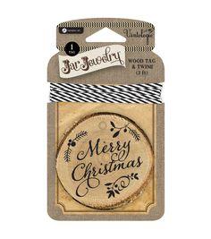 Jar Jewelry Wood Tag with Twine-Merry Christmas