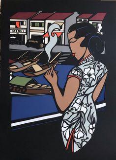 """""""Quand j'Débarquais à Singapour Y avait une gosse belle comme l'amour"""" (découpe papier) Comme, Illustration, Ethnic, Comic Books, Art, Singapore, Papercutting, Love, Art Background"""