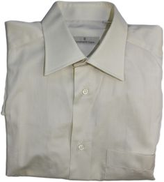 ERMENEGILDO ZEGNA MEN'S LONG SLEEVE SHIRT-CREAM-COTTON-38/15-MADE IN ITALY #ErmenegildoZegna