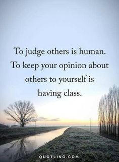 Inspirational Quotes about Work : QUOTATION – Image : As the quote says – Description Judging Quotes To judge others is human. To keep your opinion about others to yourself is having class.