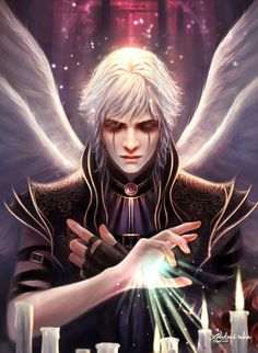 Dark Angel - Digital painting by Nakai Wen
