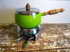 Fondue Pot Lime Green Enamel Pot Food Warmer Atomic. $24.00, via Etsy.