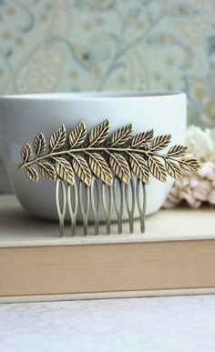 Large Leaf Brass Comb. Greek Leaf Branch Statement Comb. Nature Vintage Inspired, Wedding Hair Accessory by Marolsha.