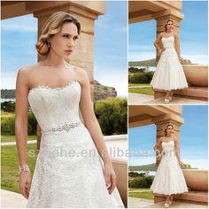Free shipping CW1365 Graceful 2014 sweetheart beaded sash a line lace tea length vintage wedding dresses US $139.00