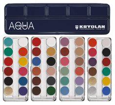 Aquacolor paleta 12 colores maquillaje al agua Kryolan