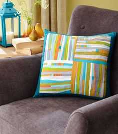 See the featured quilts and web-exclusive color options and projects from the /American Patchwork & Quilting/ February 2015 issue. Sewing Pillows, Diy Pillows, Custom Pillows, Decorative Pillows, Colorful Quilts, Small Quilts, Mini Quilts, Patchwork Cushion, Quilted Pillow