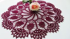 Burgundy Lace Handmade Cotton Doily Lace Doiles by MaddaKnits