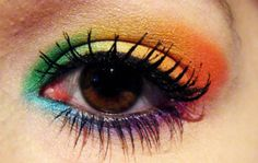 colors, eye, eyelashes, make up, rainbow