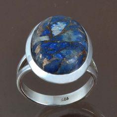NEW DESIGN LAPIS COPPER TURQUOISE 925 STERLING SILVER RING 4.95g DJR9029 SIZE-6 #Handmade #Ring