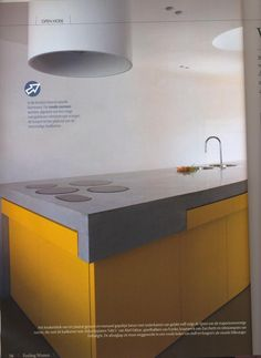 yellow concrete kitchen