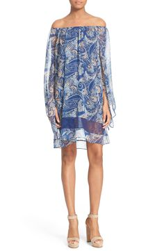 Alice + Olivia 'Cari' Paisley Print Off the Shoulder Dress
