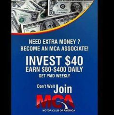 MOTOR CLUB OF AMERICA  MONEY MAKING #motorclubofamerica  You can earn weekly payouts by turning $40 into $80 with Motor Club of America. Motor club of America is a well established and profitable company http://www.EarnMcaMoneyWeekly.com Eddie  unlimitedroadsideservice169@gmail.com (516)387-5067