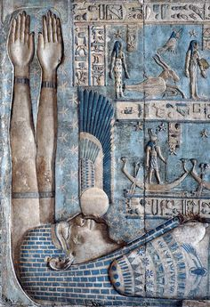 Setting of the sun in Hathor Temple at Dendera. A winged setting sun is swallowed by the sky goddess Nut on the astronomical ceiling in the outer hypostyle hall of the Hathor Temple at Dendera. Egyptian Goddess, Ancient Egyptian Art, Ancient Aliens, Ancient History, Art History, Objets Antiques, Architecture Antique, Art Ancien, Art Antique