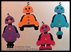 4 Piece Scrapbook Paper Pieced Girl Robot Set. $8.50, via Etsy.