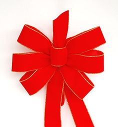 """This traditional red with gold edge velvet Christmas bow is handmade to order in the US. It measures about 11"""" to 12"""" across and has tails that measures about 16"""" to 18"""" long. The ribbon is 2 1/2"""" in width. This bow has six loops, three on each side. It it tied with wire... see more details at https://bestselleroutlets.com/arts-crafts-sewing/crafting/fabric-ribbons/product-review-for-wired-traditional-red-with-gold-edges-handmade-velvet-christmas-bow-"""