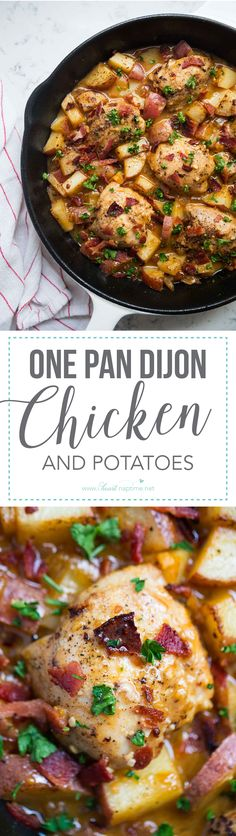One pot dijon chicken and potatoes recipe -the caramelized onions, roasted potatoes, juicy chicken and dijon glaze give this dish so much flavor!