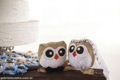 Casamento rústico. Casamento no campo. Decoração DIY. Casal de corujinhas. Rustic wedding. Owl couple.