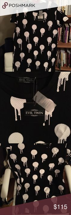Brand new Evil twin bleeding polka dot dress Very unique and trendy. One of a kind statement dress. This dress is like a t-shirt style dress size M. New with tags Evil twin  Dresses