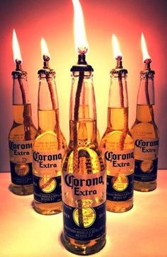 Corona Extra Beer Tiki Torch Set Outdoor Indoor Table Top Lantern Oil Burner