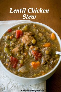 Grain Crazy: Lentil Chicken Stew perfect for these Fall days! Lentil Recipes, Soup Recipes, Chicken Recipes, Pea Recipes, Real Food Recipes, Cooking Recipes, Healthy Recipes, Chicken Lentil, Soup And Sandwich