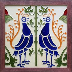 A four tile cream ground panel featuring two stylised birds in cobalt blue with exotic tail plumage in dark orange....