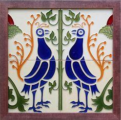 c.1920s Verdejo Manises Spanish four tile birds panel, framed