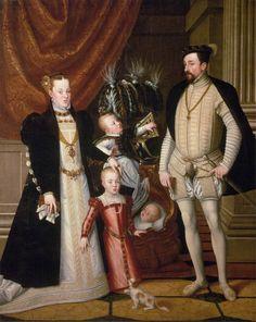 Giuseppe Arcimboldo - Maximilian II, His Wife and Three Children, 1563