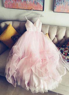 Pink tulle spaghetti straps V neck long ruffles evening dress #prom #dress #gowns #promdress #promdresses #weddingdress