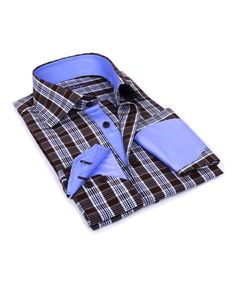 Blue & Brown Plaid Button-Up | zulily