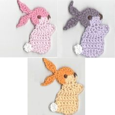 Crocheted Bunny Appliques Handmade by Dimana Supplies by dimana, $4.00 by karyn