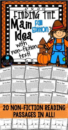 Finding the Main Idea {Fall Edition} 20 fall themed non-fiction reading passages for students to use while they practice finding the main idea and supporting details.