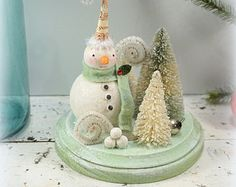 Snowman // Christmas Decoration // Folk Art //Winter Wonderland // Cottage Chic // Vintage Style Christmas //  Bottle Brush Tree //