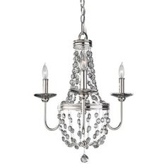 Check out this item at One Kings Lane! Malia 3-Light Chandelier, Nickel