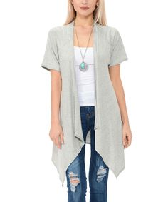 Heather Gray Drape Open Cardigan