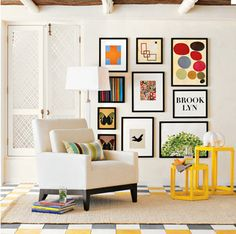 gallery wall inspiration.  I think I was made to live in a house with gray walls and colorful art...