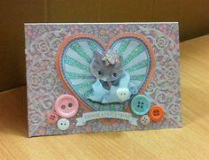 Handmade Congratulations card featuring a cute kitten, a heart and buttons. Card Making Templates, Arts And Crafts, Paper Crafts, Congratulations Card, Kitty Cats, Kittens Cutest, Handmade Cards, Cardmaking, Dog Cat