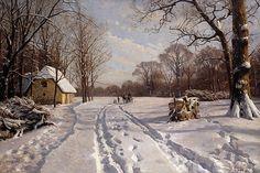 DescriptionA Sleigh Ride through a Winter Landscape, 1915 (oil on canvas) by Monsted, Peder (1859-1941)