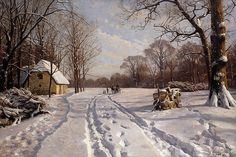 DescriptionA Sleigh Ride through a Winter Landscape, 1915 (oil on canvas) by Monsted, Peder (1859-1941)
