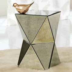 Faceted Mirror Side Table - contemporary - side tables and accent tables - West Elm...between Barcelona Chairs?
