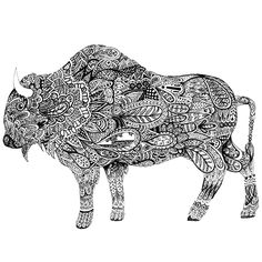 Animals With Horns, Buffalo Art, Wood Badge, Zentangle Patterns, Zentangles, Continuous Line Drawing, Majestic Animals, Ap Art, Art Of Living